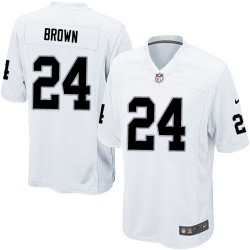 Nike Men's Game White Road Jersey Oakland Raiders Willie Brown 24