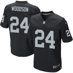 Nike Men's Elite Black Home Jersey Oakland Raiders Charles Woodson 24
