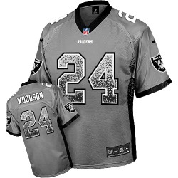 Nike Men's Elite Grey Drift Fashion Jersey Oakland Raiders Charles Woodson 24