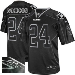 Nike Men's Elite Lights Out Black Autographed Jersey Oakland Raiders Charles Woodson 24