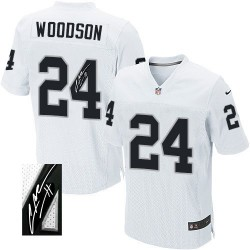 Nike Men's Elite White Autographed Road Jersey Oakland Raiders Charles Woodson 24