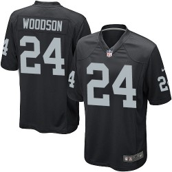 Nike Men's Game Black Home Jersey Oakland Raiders Charles Woodson 24