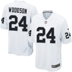 Nike Men's Game White Road Jersey Oakland Raiders Charles Woodson 24