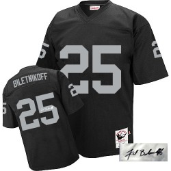 Mitchell and Ness Men's Authentic Black Autographed Road Throwback Jersey Oakland Raiders Fred Biletnikoff 25