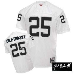 Mitchell and Ness Men's Authentic White Autographed Road Throwback Jersey Oakland Raiders Fred Biletnikoff 25