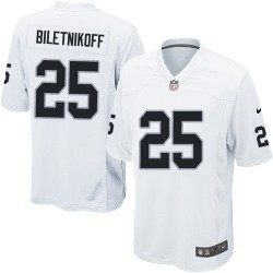 Nike Youth Elite White Road Jersey Oakland Raiders Fred Biletnikoff 25