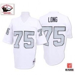 Mitchell and Ness Men's Authentic White/Silver No. Throwback Jersey Oakland Raiders Howie Long 75