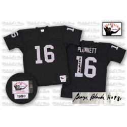 Mitchell and Ness Men's Authentic Black Autographed Home Throwback Jersey Oakland Raiders Jim Plunkett 16