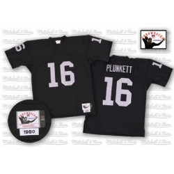 Mitchell and Ness Men's Authentic Black Home Throwback Jersey Oakland Raiders Jim Plunkett 16