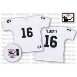 Mitchell and Ness Men's Authentic White Road Throwback Jersey Oakland Raiders Jim Plunkett 16