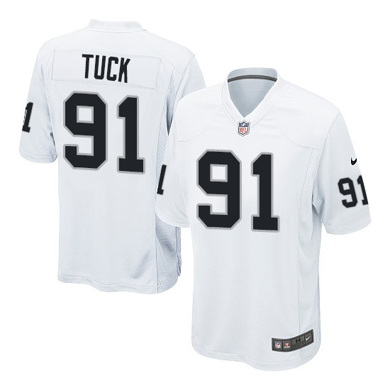 Nike Youth Game White Road Jersey Oakland Raiders Justin Tuck 91